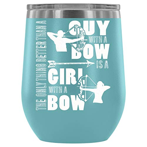 - Guy With A Bow Wine Tumbler Cup, Archer Steel Stemless Wine Glass Tumbler, Wine Tumbler Sippy Cup with Lid for Red Wine (12oz - Light Blue)