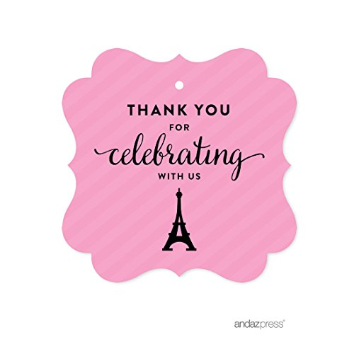 - Andaz Press Paris Bonjour Bebe Girl Baby Shower Collection, Fancy Frame Gift Tag, Thank You for Celebrating with US!, 24-Pack, Bridal Shower, Engagement