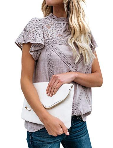 ZXZY Women Cute Lace Blouse Top Short Sleeve Lace Hollow Out Turtle Neck T Shirt Purple (Shirt Cotton Blouse Lace)