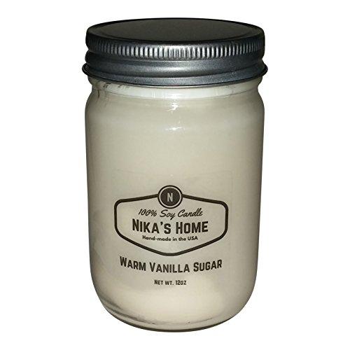 (Nika's Home Warm Vanilla Sugar Soy Candle - 12oz Mason)