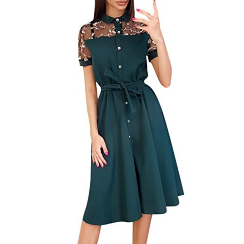 Witspace Vintage Boho Women Summer Short Sleeve Patchwork Lace Mini Dress