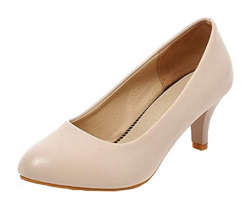 On Heels Round Women's Pull Toe PU Apricot Kitten Odomolor Shoes Solid Pumps W4wqag81pp