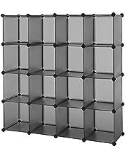 SONGMICS Cube Storage Organizer, 16-Cube Book Shelf, DIY Plastic Closet Cabinet