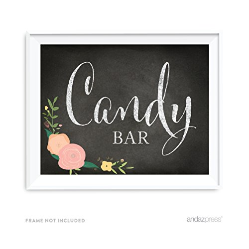 Andaz Press Wedding Party Signs, Chalkboard Pink Coral Floral Roses Print, 8.5x11-inch, Candy Bar Reception Dessert Table Sign, 1-Pack