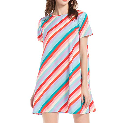 Transer- Basic T-Shirt Dress Striped Print Casual Short Sleeve Crew Neck Comfy Fitted Summer Dresses