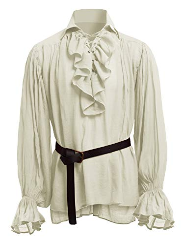 Beotyshow Mens Medieval Shirts Ruffled Gothic Pirate Cosplay