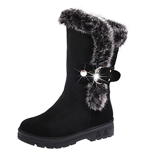 Hot Sale!Women Boots,Canserin Women's 2017 Women's Autumn Winter Knee High Boots Flat Heel Nubuck Motorcycle Boot Shoes (6 B(M) US, Black 1) (On Sale Slippers Uggs Mens)
