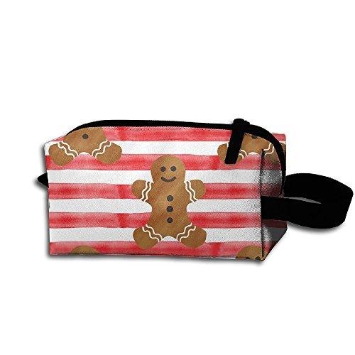 Gingerbread Stripes - Unisex Portable Travel Wristlets Bag Gingerbread Stripes Clutch Wallets, Change Purse,Pencil Bag,Cosmetic Bag Pouch Coin Purse Zipper Change Holder Strap