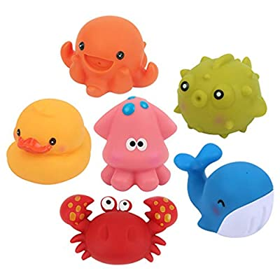 Coxeer 6PCS Bath Toy Set Soft Animal Squirt Water Bath Tub Toy Squeaky Toy for Kids: Kitchen & Dining