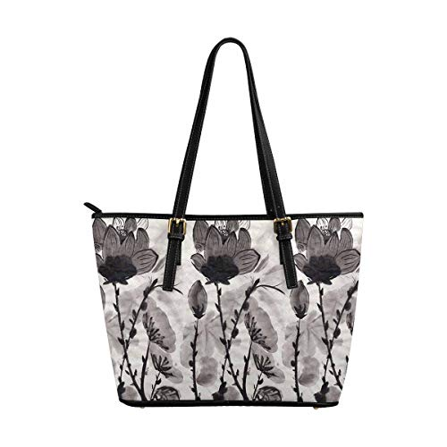 InterestPrint Tote Bags Zippered Tote for Women Overnight HandBags Oriental Lotus Chinese Ink and Wash Painting