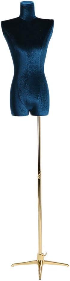 HYDT Maniquí de Mujer Muñecas Sastres Robustas con Trípode Soporte de Metal, Exhibición de Ropa Portátil Maniquí Femenino para Camisetas Chaquetas (Color : Blue)