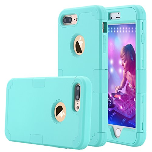 (iPhone 7 Plus Case, LONTECT Hybrid Heavy Duty Shockproof Full-Body Protective Case with Dual Layer [Hard PC+ Soft Silicone] Impact Protection for Apple iPhone 7 Plus - Teal)