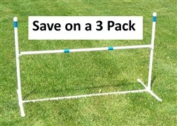 3 Pack of Agility Gear Training Jumps - One 48'' Striped Bar on each Jump