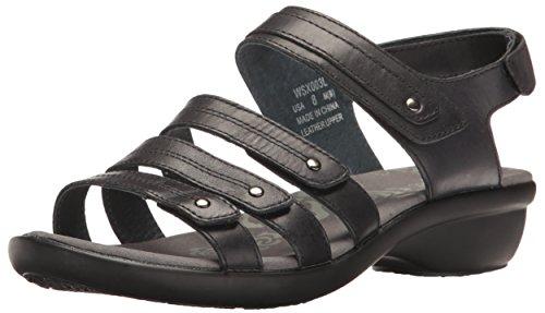 (Propet Women's Aurora Wedge Sandal Black 9.5 W US)