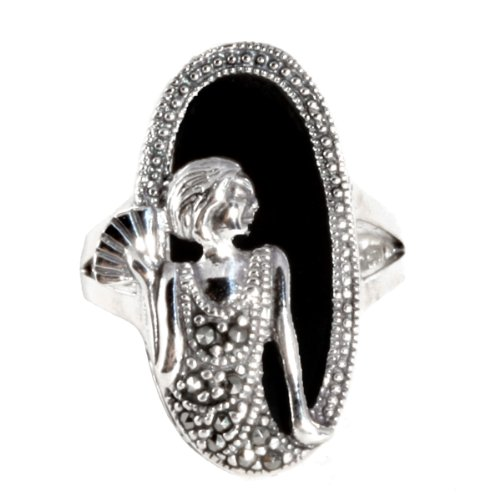 Sterling Silver Marcasite and Oval Onyx Ring, Size 7