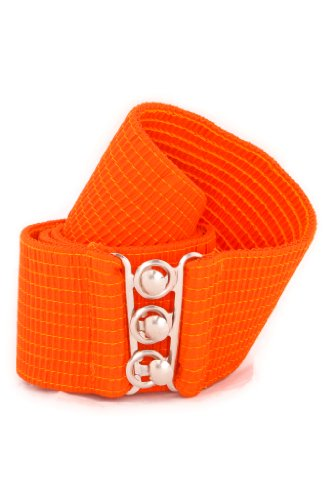 Malco Modes Wide Elastic Cinch Waist Belt Stretch Belt for Women, Plus Sizes X-Large Orange