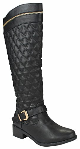 Zip Womens Flats Boots (Women Greta15 Black FauxLeather Gold Decor Zip Buckle Strap Quilted Slanted Riding Knee High Boots-7)