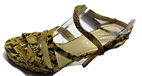 Karen Millen-Jaune et Noir effet serpent tous les en cuir ouvert Sandales