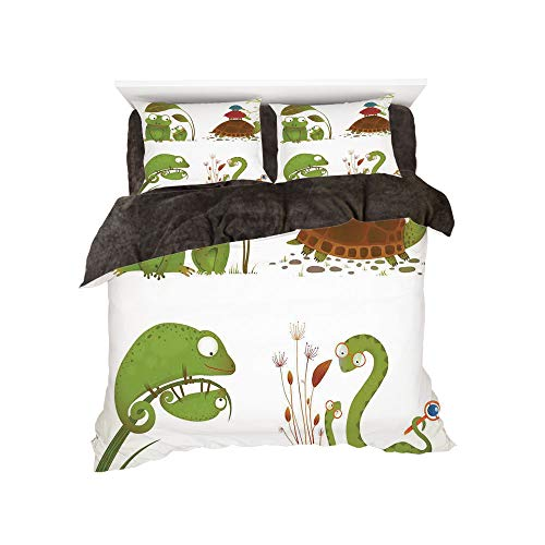 Flannel 4 Piece Cotton Queen Size Bed Sheet Set for bed width 5ft Winter Holiday Pattern by,Reptiles,Reptile Family with Colorful Baby Collection Snake Frog Ninja Turtles Love Mother,Green Brown - Queen Turtle Sheets Ninja