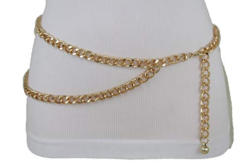 TFJ Women Metal Belt Hip Waist Gold Metal Chain Links Strands Plus M L (Strand Chain Link)