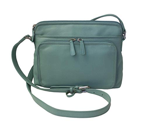 CTM Women's Leather Shoulder Bag Purse with Side Organizer, Turquoise ()