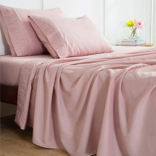 Bedsure Queen Bed Sheets Set Pink - Soft 1800 Bedding Microfiber Sheets for Queen Size Bed - Wrinkle, Fade, Stain Resistant - 4 Pieces