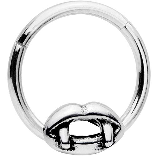 Body Candy 16G Steel Hinged Segment Ring Seamless Cartilage Nipple Ring Spooky Vampire Kiss Nose Hoop 3/8