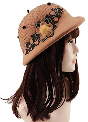 (Loufmive Women's Wool Felt Bowler Hat Pillbox Hat with Embroidery Flowers and Veil (Khaki))