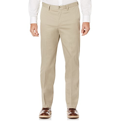 Savane Men's Big and Tall Flat Front Stretch Ultimate Performance Chino, Mid Khaki, 40W x (Flat Front Chino Trouser)