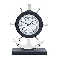 Deco 79 Aluminum Anchor Clock, 13 by 10-Inch