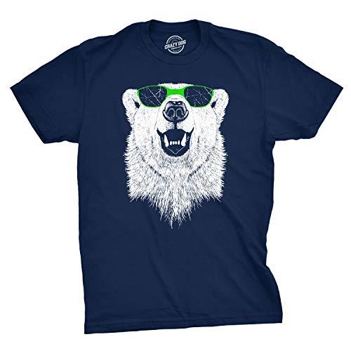 Mens Polar Bear Wearing Sunglasses Tshirt Funny Zoo Animal Graphic Tee (Blue) - L