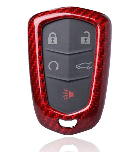 HHHU0104 - Red Carbon Fiber Smart Key Fob Remote Keyless Cover Case Shell Holder for Cadillac Escalade ATS CT6 CTS XTS ()