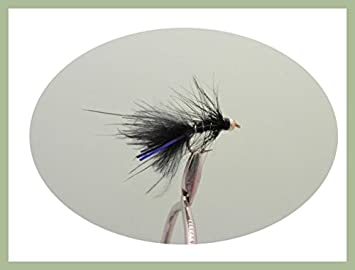Size 10 12 pack of Goldhead Black Blue Flash Damsel Lures Fishing Flies