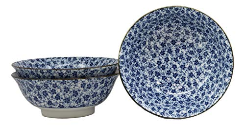"""Ebros Gift Blue And White Ming Style Floral Petals Ceramic Bowls Pack Of 3 Ramen Pho Soup Bowl Set 32oz 8""""Diameter Made In Japan Asian Cuisine Dining Restaurant Supply Grade Microwave Dishwasher Safe"""
