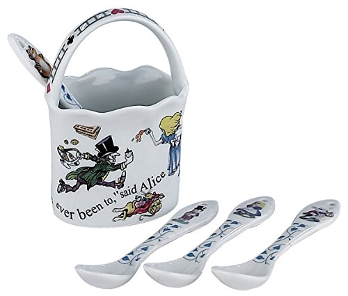 Paul Cardew Alice in Wonderland China Basket and Set of Four Spoons