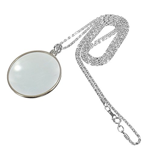 - scgtpapadc 5X Magnifier Round Reading Magnifying Glass Lens Pendant Long Chain Necklace Silver