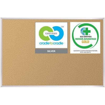 Best-Rite VT Logic Cork Bulletin Board, Aluminum Trim, 4 x 6 Feet - Trim Bulletin Aluminum Board