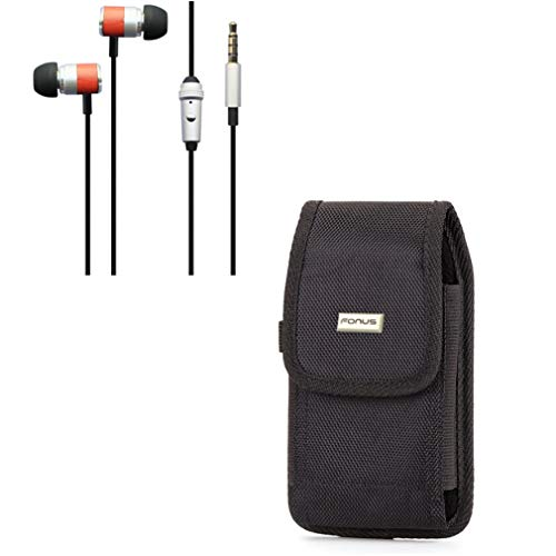Rugged Canvas Case w Hi-Fi Sound Earbuds Hands-Free Earphones Mic G9Q Compatible with LG Stylo 4 2 V Plus 3 Plus, G Pro 2 - Microsoft Lumia 640 XL - Motorola Moto X Pure Edition Z2 Play