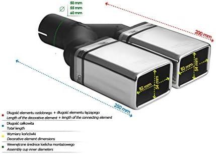 Auspuffblende Endrohr N2-44*//50 Doppelendrohr Doppelrohr 2x 82x54mm eckig Auspuff Sportauspuff Optik Blende Edelstahl Anschlu/ß 50mm