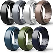 Qinaoco Silicone Rings for Men Breathable - 2/4/7 Rings Men's Silicone Rubber Wedding Ring Engagement Band