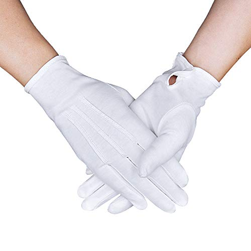Parade Gloves White Cotton Formal Tuxedo Costume Honor Guard Gloves with Snap Cuff, Coin Jewelry Silver Inspection Gloves 3 Pair -