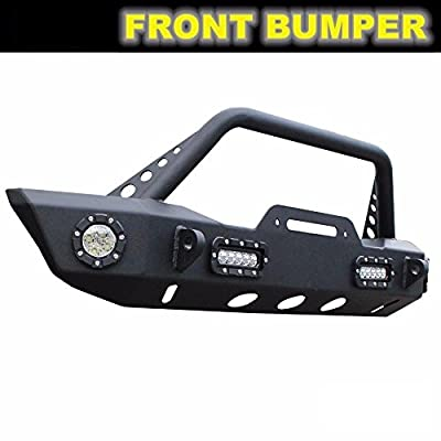 Viksee 1pc Glossy Black Front Bumper With 4 LED Lights+Winch Plate Fit 2007-2019 Jeep Wrangler 2018~2019 Wrangle JL/JK All Models