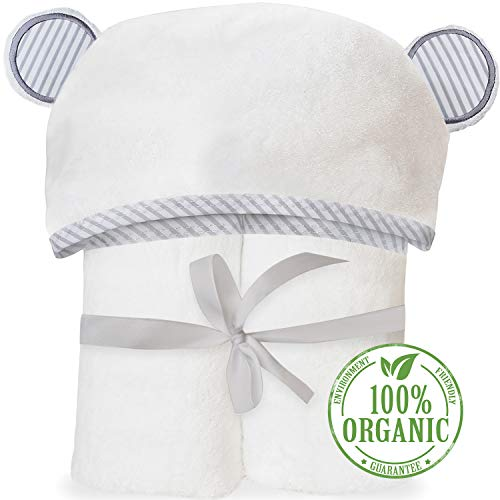 Organic Bamboo Hooded Baby Towel - Soft, Hooded Bath Towels with Ears for Babies, Toddlers - Hypoallergenic, Large Baby Towel Perfect Baby Shower Gift for Boys and Girls by San Francisco Baby]()