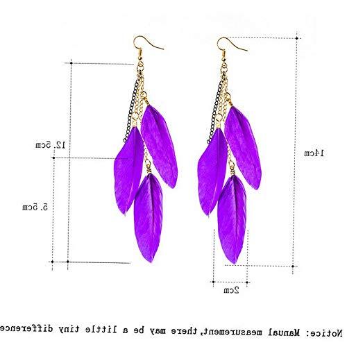 (Dokis Fashion Women Feather Tassel Multi-Color Earrings Drop Dangle Hook Jewelry Gift | Model ERRNGS - 2920)