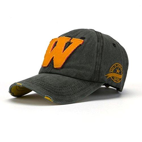 Gorras de única Sombreros Ocio Negro Sombrero Sombra Verano SnapBack Deportes de Béisbol W Yesmile Carta de Gris Unisex talla Sombreros Hockey zgFwv