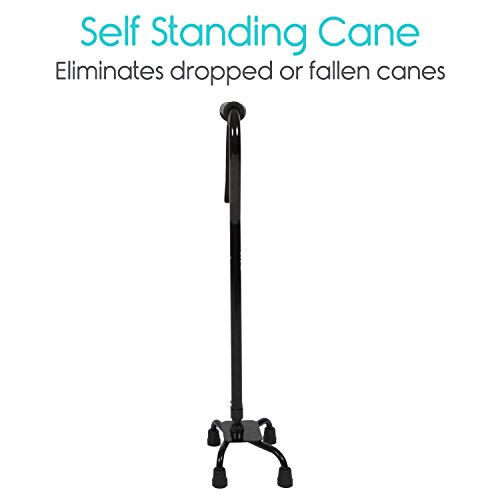 Adjustable Quad Cane by Vive - Lightweight Walking Stick for Men and Women - Walking Staff Can Be Used By Right- or Left-Handed Individuals - Fashionable and Sturdy (Black) by VIVE (Image #2)