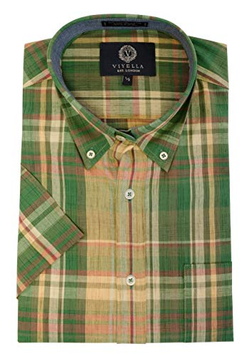 Viyella Men's Short Sleeve Madras Plaid Sport Shirt (Large, Sea Green)