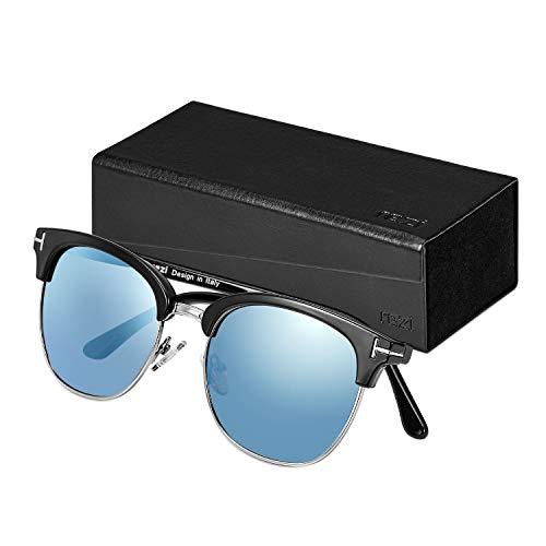Rezi Retro Semi Rimless Polarized Sunglasses for Men Women, Half Frame Glasses (Blue)