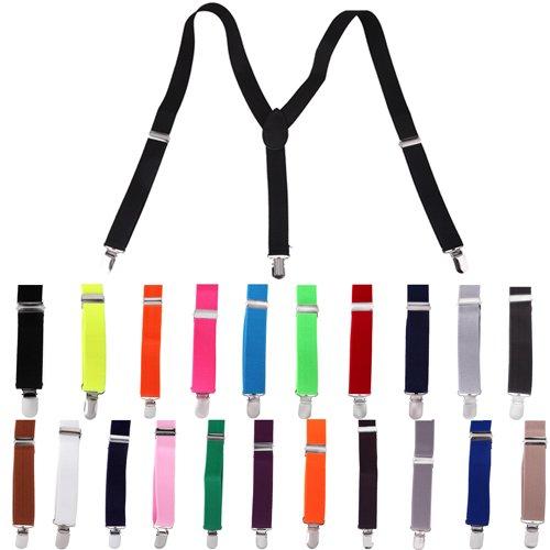 HDE Solid Color Y-Back Clip Suspenders - 1 Inch Wide