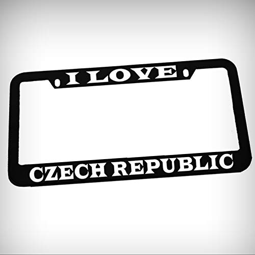 (I Love Czech Republic Zinc Metal Tag Holder Car Auto License Plate Frame Decorative Border - Black Sign for Home Garage Office Decor)